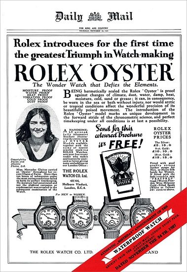 Rolex Oyster water proof vintage advertisement