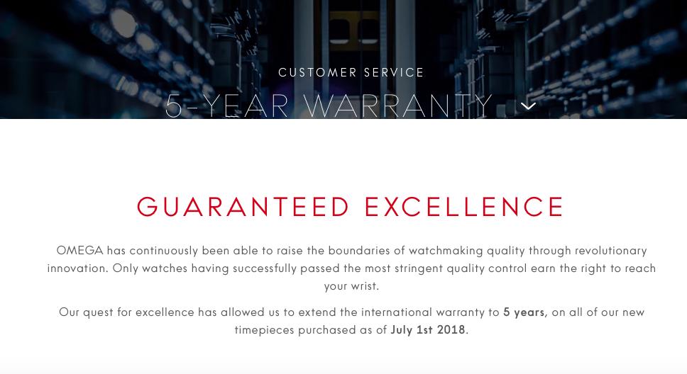 Omega five year warranty