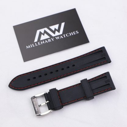 Black Rubber Alligator Embossed Red Stitching Strap 20mm
