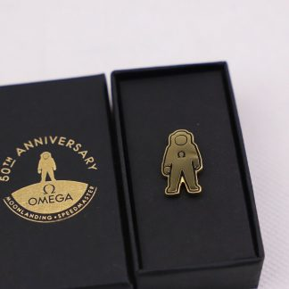 Omega Apollo 11 Moon Landing 50th anniversary Novelty Pin badge (lapel pin) in its original box. The Omega Lapel pin is 100% authentic and is never used.