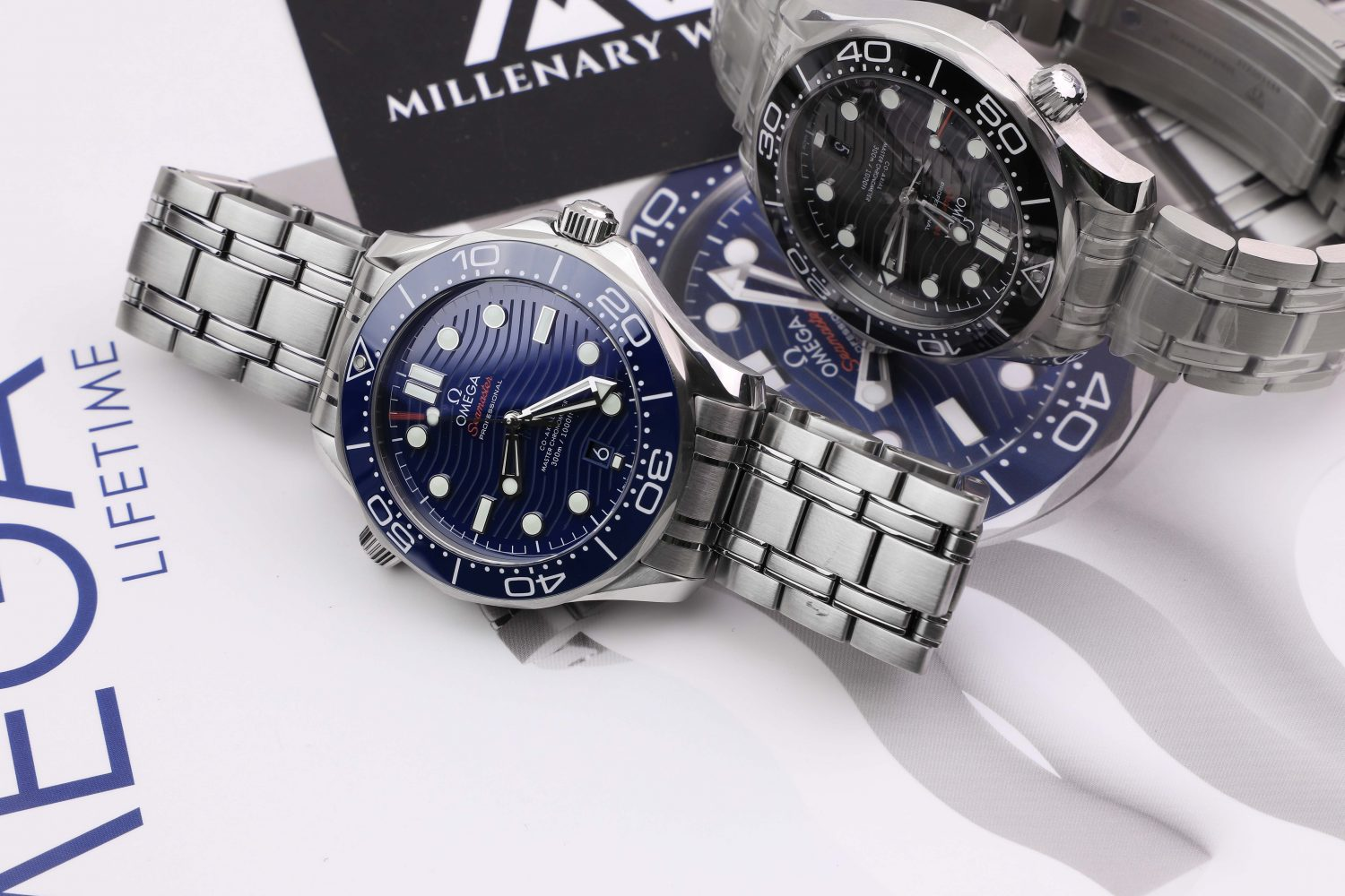 Omega Seamaster ceramic blue dial steel bracelet wave dial for sale buy online Millenary Watches