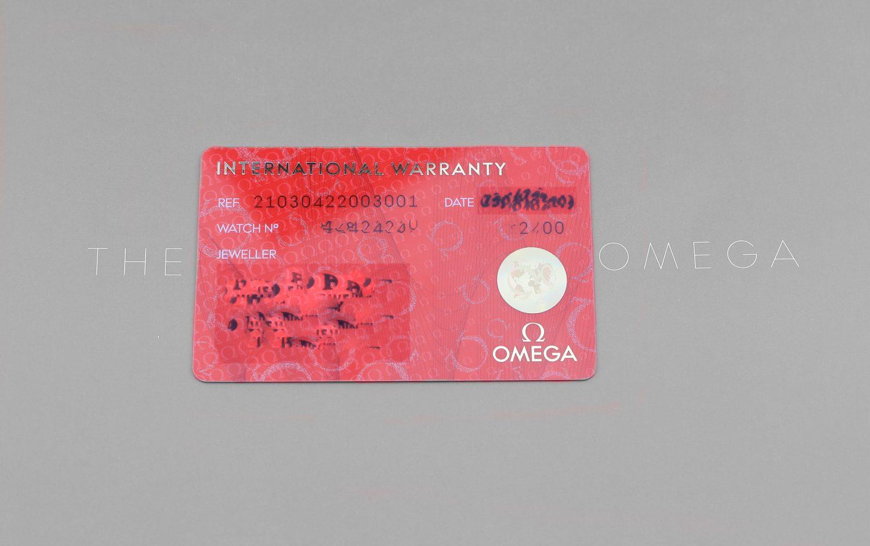 Omega warranty card