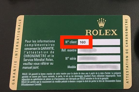 Old Rolex warranty card