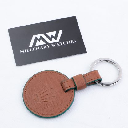 Original Rolex Crown Brown Leather Key Ring