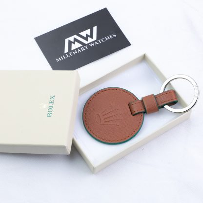 Original Rolex Crown Brown Leather Key Ring