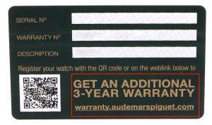 Audemars Piguet Warranty card