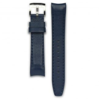 Everest Curved End Leather Strap Tang Buckle for Rolex Sports Models Blue