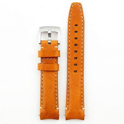 Everest Curved End Leather Strap Tang Buckle for Rolex Sports Models Tan