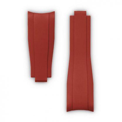 Everest Curved End Rubber Strap For Rolex Sports Models Deployant Red