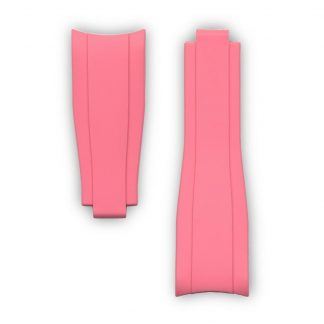 Everest Curved End Rubber Strap Strap For Rolex Sports Models Deployant Pink