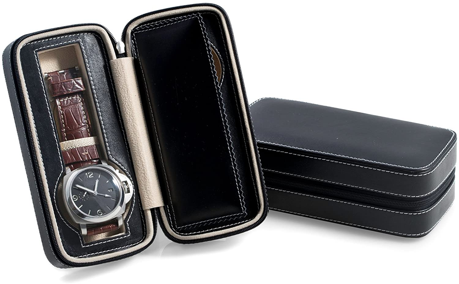 Bey-Berk Black Leather 2 Watch Travel Case with Compartments and Zipper Closure