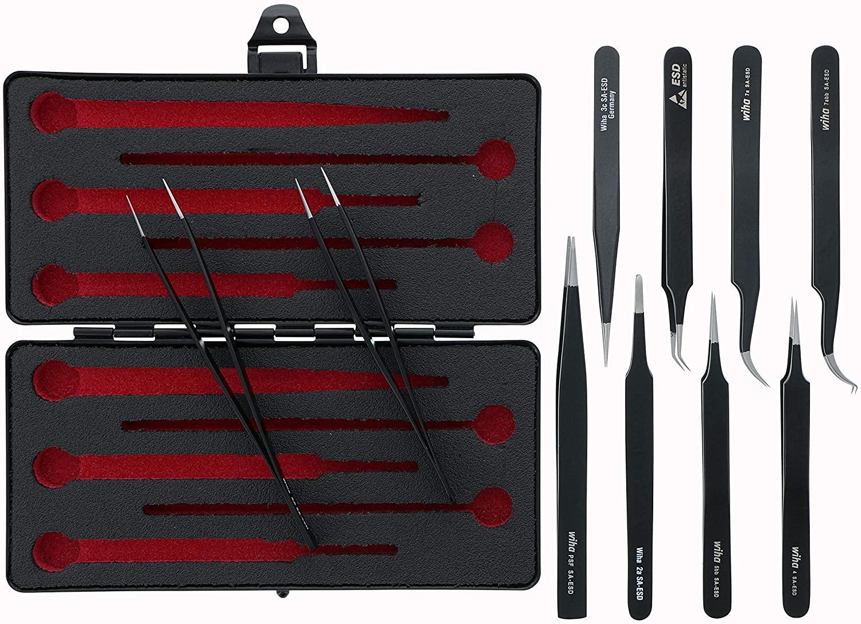 Wiha 44593 ESD Safe Tweezers Set 10-Piece