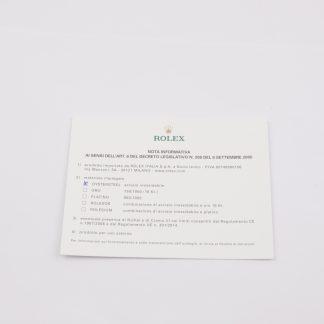 Rolex Italian Material Legal Sheet