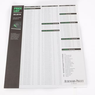 Audemars Piguet 2018 Price List Sheet
