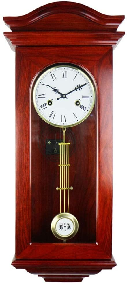 Wall Clock Grandfather Clock Chime Vintage European Retro Metal Pendulum Mechanical Manual Winding Solid Wood Roman Numeral Living Room Decor Large