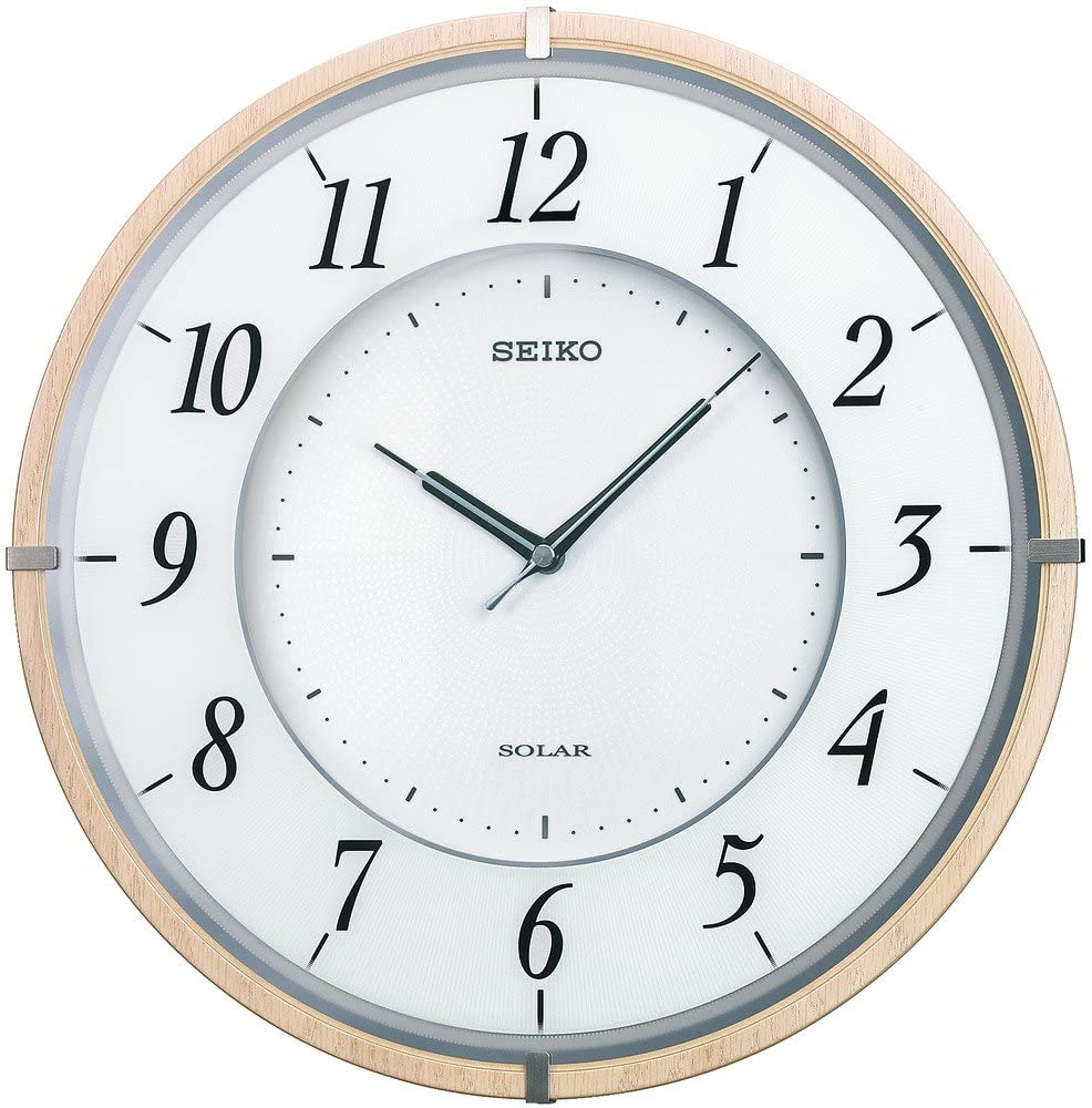 Seiko Clock Clock Radio Wall Clock Twin -Pas -Thin Solar Plus Wooden Frame Brown SF501B