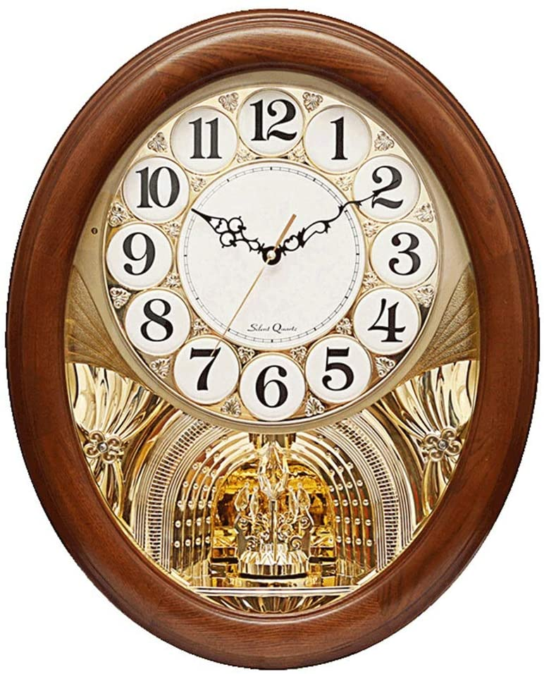 Wall Clock Non Ticking Battery Operated Decorative Living Room Decor Bedroom Wood Quartz Musical Motion Dynamic Swing Pendulum European Oval Clocks