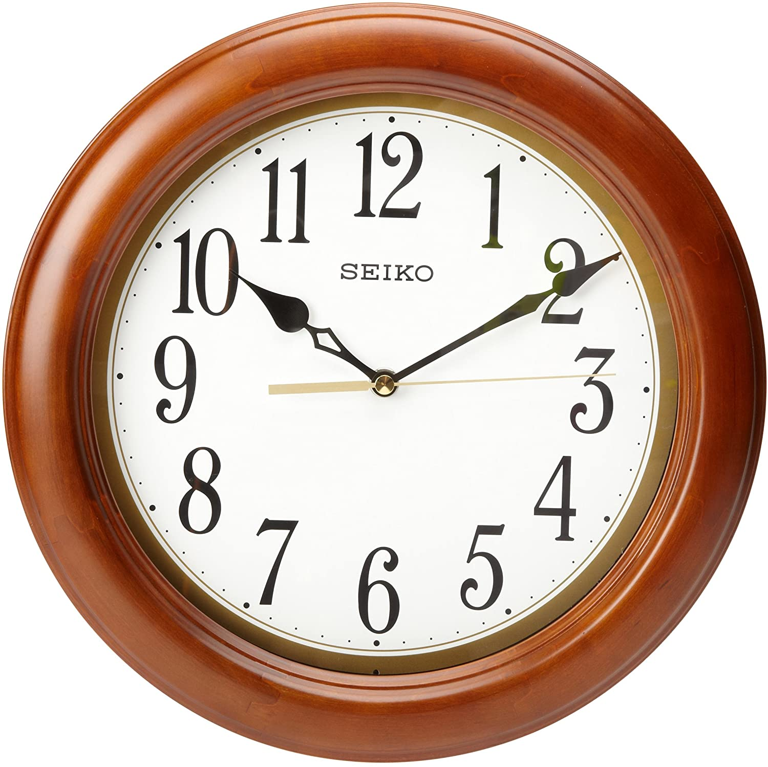 "Seiko 12"" Round Wood Classic Wall Clock"