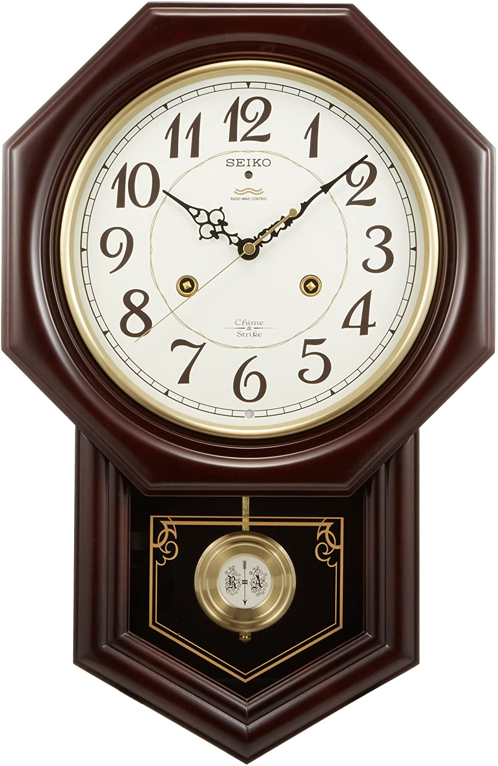 Seiko Wall Clock Chime and Strike Radio Clock Twin -Pas RQ205B