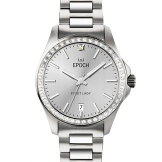 Epoch First Lady Full Diamond Brushed Silver
