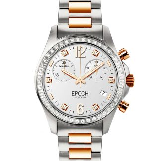 Epoch First Lady Chronograph Full Diamond Gold White