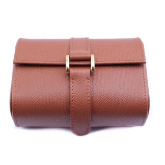 Rolex Luxury Brown Leather Travel Case for 2 Watches