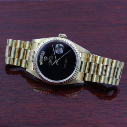 Rolex President Day-Date 18238 Onyx Dial Arabic Day+Date Disc Box & Papers