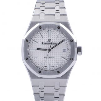 Audemars Piguet Royal Oak 15450ST 2017 Silver/White Dial 37MM Fullset Like New