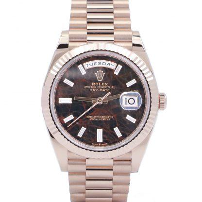 Rolex Day-Date 40 Rose Gold 228235 Eisenkiesel Baguette Dial Unworn 2021
