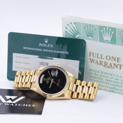 Rolex 18238 Day-Date 36 Factory Onyx Dial Year 2000